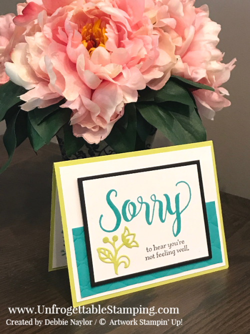 Unfrogettable Stamping | Fabulous Friday Color Challenge card featuring Bermuda Bay and Lemon-Lime Twist,  Sorry for Everything and Healing Hugs stamp sets, Big Shot, Flourishes thinlits and Tufted dynamic texture folder by Stampin' Up!