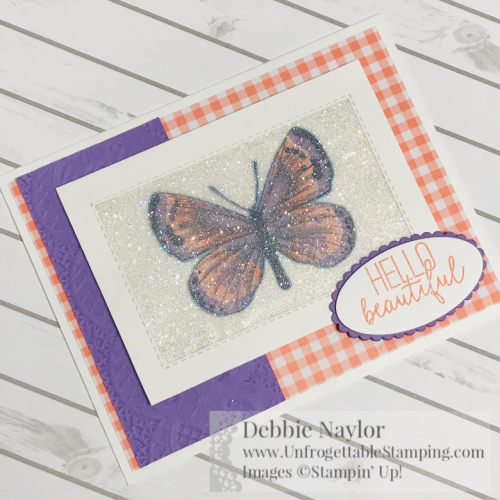 Unfrogettable Stamping | Fabulous Friday glitter window card featuring the Botanical Butterfly DSP, Lace dynamic texture folder, Gingham Gala DSP stack and Butterfly Gala stamp set from Stampin' Up!