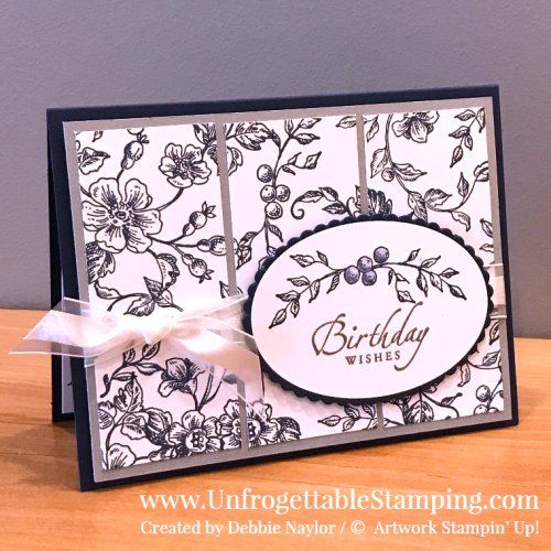 Unfrogettable Stamping | Fabulous Friday throwback birthday card featuring the long-ago retired DD Toile and Sincere Salutations stamp sets and Whisper White Organza Ribbon by Stampin' Up!