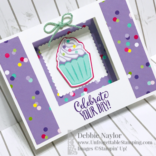 Unfrogettable Stamping | Feb 2019 Stampers Dozen Blog Hop U-Fold cupcake birthday card featuring the How Sweet It Is DSP by Stampin' Up!