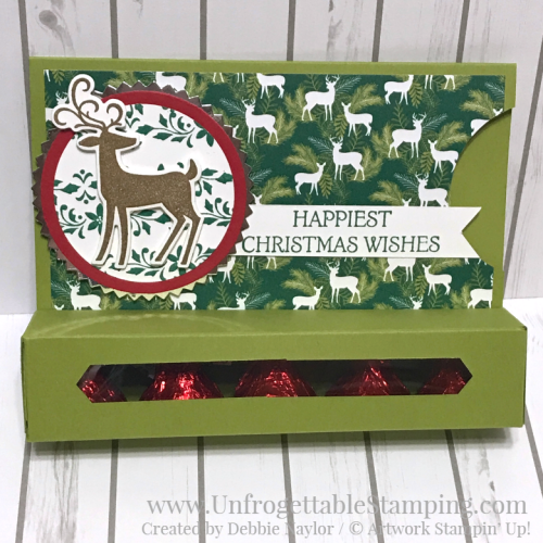 Unfrogettable Stamping | Fabulous Friday gift card holder featuring the Under the Mistletoe DSP, Dashing Deer stamp set and coordinating Detail Deer thinlits by Stampin' Up!