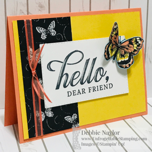 Unfriogettable Stamping | Fabulous Friday card featuring the Botanical Butterfly DSP and Organdy Ribbon combo pack Sale-a-Bration products available for FREE with a qualifying $50+ order from Stampin' Up!