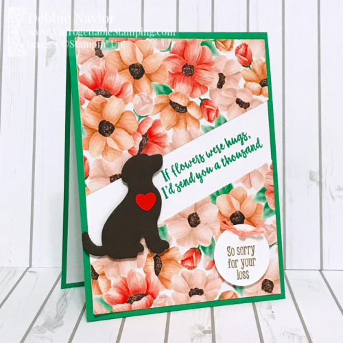 Unfrogettable Stamping | Fabulous Friday pet sympathy card featuring the Painted Seasons DSP Sale-a-Bration selection, Happy Tails bundle and Abstract Impressions stamp sets from Stampin' Up!