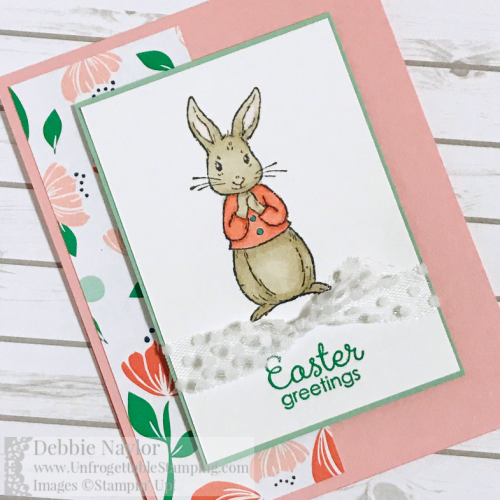 Unfrogettable Stamping | Fabulous Friday Easter card featuring the Fable Friends stamp set and Happiness Blooms DSP from Stampin' Up!