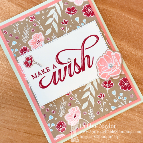 Unfrogettable Stamping | Fabulous Friday birthday card featuring the Occasions Catalog retiring products Life is Grand stamp set and All My Love DSP from Stampin' Up!