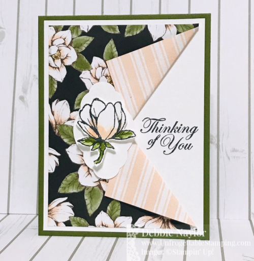Unfrogettable Stamping | Fabulous Friday thinking of you card featuring the Good Morning Magnolia bundle, Magnolia Lane DSP and Pretty Label punch from Stampin' Up!
