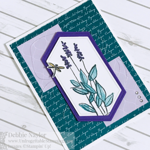 Unfrogettable Stamping | June 2019 Stampers Dozen Blog Hop card featuring the brand new Soft Spring Host stamp set, Stitched Nested Labels dies and new 2019-2021 In Color DSP from the 2019-2020 Stampin' Up! annual catalog