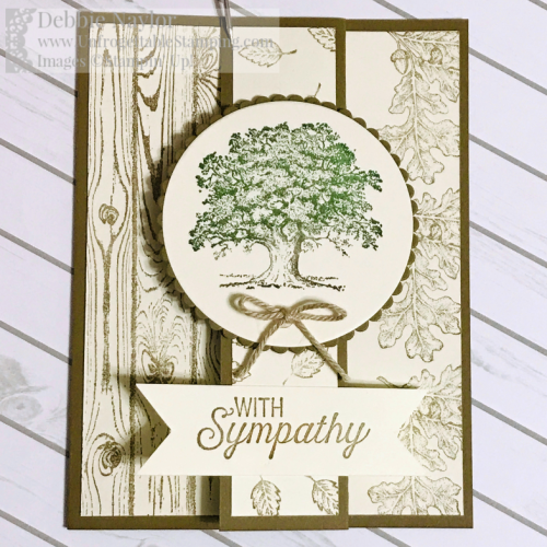 Unfrogettable Stamping | Fabulous Friday Z-Fold sympathy card featuring the Lovely as a Tree, Hardwood and Flourishing Phrases stamp sets along with the Layering Circles framelits dies for the Big Shot by Stampin' Up!
