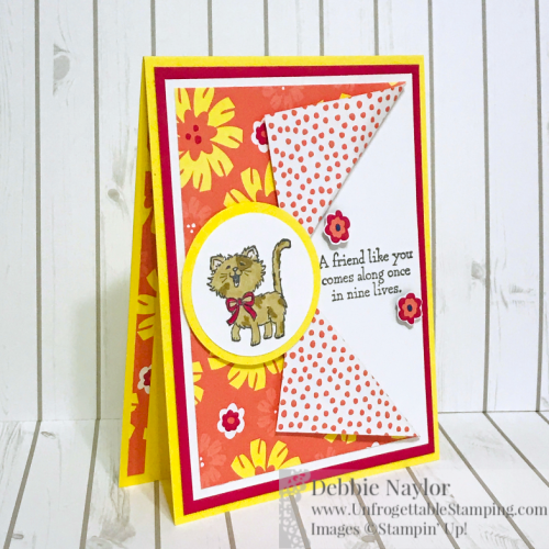 "Unfrogettable Stamping | May 2019 Stampers Dozen Blog Hop card featuring Last Chance products: Pretty Kitty stamp set, Happiness Blooms DSP and 1-3/4"" circle punch by Stampin' Up!"