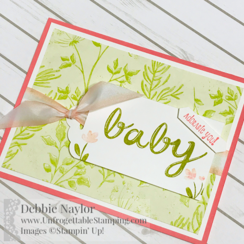 Unfrogettable Stamping | Fabulous Friday baby girl card featuring the Botanical Butterfly DSP (Sale-a-Bration selection), Hand-lettered Alphabet and Hedgehugs stamp sets, Scalloped Tag Topper punch and Petal Pink-Whisper White Variegated Ribbon by Stampin' Up!