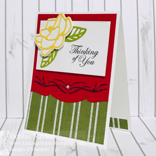 Unfrogettable Stamping | Fabulous Friday thinking of you card and candy favor featuring the Magnolia Lane product suite from Stampin' Up!