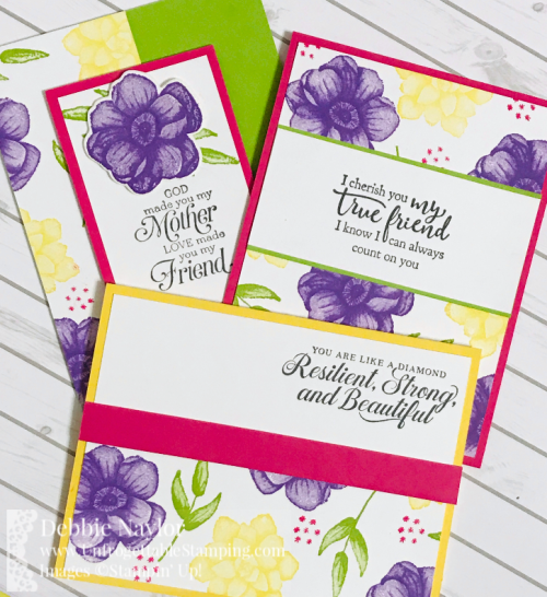 Unfrogettable Stamping | Fabulous Friday Half sheet OSW cards featuring the Painted Seasons bundle, coordinating Four Seasons framelits and Strong & Beautiful stamp set by Stampin' Up!
