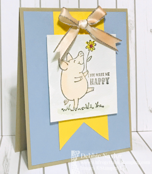 Unfrogettable Stamping | July 2019 Stampers Dozen Blog Hop - Color My World piggy card featuring three different coloring techniques with the This Little Piggy stamp set by Stampin' Up!