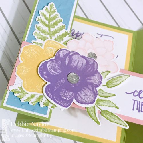 Unfrogettable Stamping | Fabulous Friday Bridge Card featuring the Picture Perfect Birthday stamp set, Country Floral texture folder,  Painted Seasons stamp set and Four Seasons framelits by Stampin' Up!