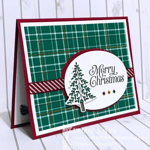 Unfrogettable Stamping | August 2019 Stampers Dozen Blog Hop Holiday Catalog Sneak Peek Christmas card featuring the Wrapped in Plaid suite by Stampin' Up!
