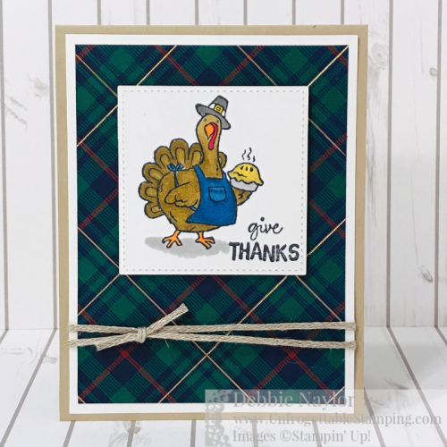 Unfrogettable Stamping | Fabulous Friday Thanksgiving Card featuring the Birds of a Feather stamp set and Wrapped in Plaid DSP from Stampin' Up!