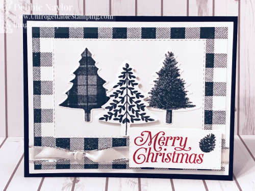 Unfrogettable Stamping | Fabulous Friday Black and White Christmas card featuring the Perfectly Plaid bundle and Buffalo Check stamp set by Stampin' Up!