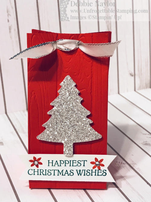 Unfrogettable Stamping | December 2019 Stampers Dozen Blog Hop Glimmery Christmas favor box featuring the Pine Tree punch, Silver Glimmer paper, Pinewood Planks 3D embossing folder and Dashing Deer stamp set by Stampin' Up!