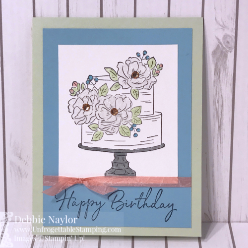 Unfrogettable Stamping | Fabulous Friday birthday card featuring the Happy Birthday to You exclusive Sale-a-Bration stamp set, Champagne Rhinestone jewels and Whisper White Crinkled Seam Binding ribbon from Stampin' Up!