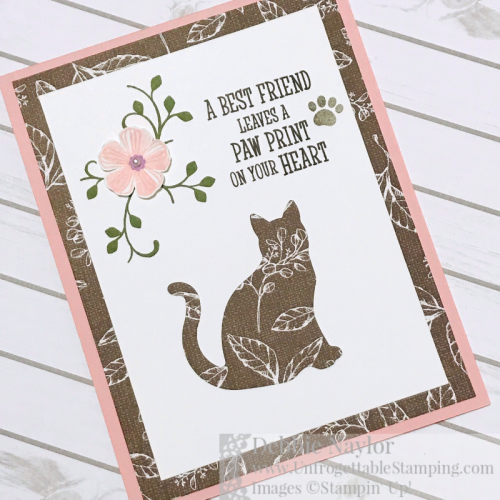 Unfrogettable Stamping | Fabulous Friday sympathy card featuring the Cat Punch, Magnolia Lane DSP, Thoughtful Blooms and Happy Tails stamp sets by Stampin' Up!