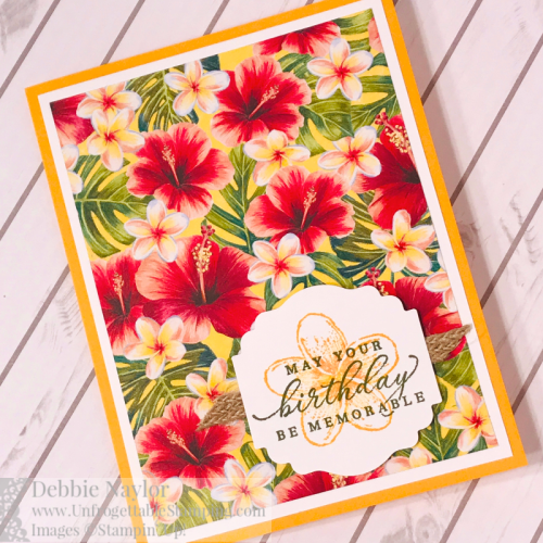 Unfrogettable Stamping | Fabulous Friday anything goes birthday card featuring the new Timeless Tropical stamp set,Tropical Oasis DSP and Label Me Lovely punch by Stampin' Up!