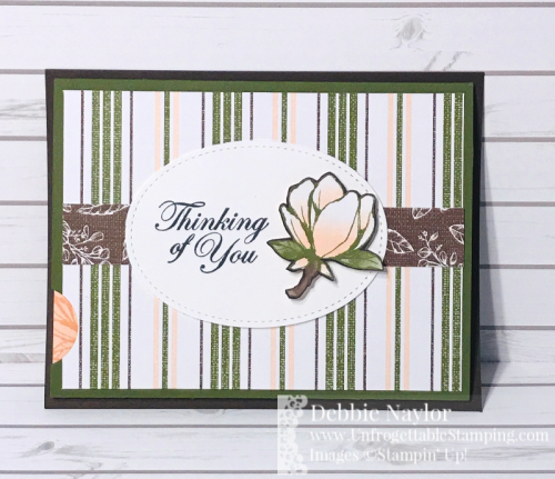 Unfrogettable Stamping | Fabulous Friday thinking of you slider card featuring the Good Morning Magnolia stamp set and coordinating Magnolia Lane DSP by Stampin' Up!