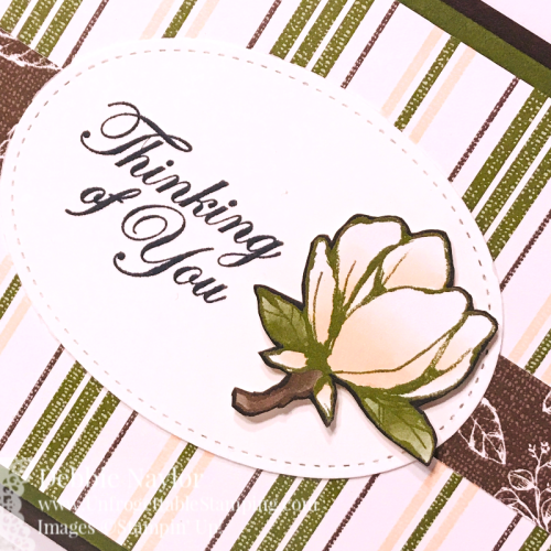 UnfrogUnfrogettable Stamping | Fabulous Friday thinking of you slider card featuring the Good Morning Magnolia stamp set and coordinating Magnolia Lane DSP by Stampin' Up!ettable Stamping Fabulous Friday Magnolia slider card2