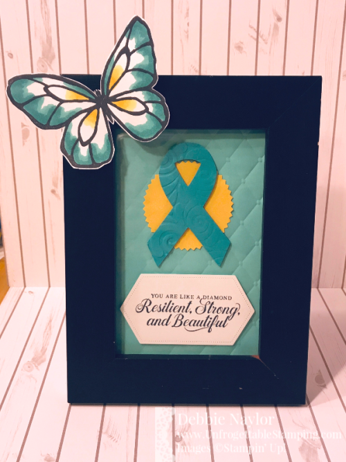 Unfrogettable Stamping | November 2019 Stampers Dozen Blog  Hop Home Decor project featuring the Strong & Beautiful and Beautiful Day stamp sets; Tufted 3D and Swirls & Curls embossing folders; Support Ribbon and Stitched Nested Labels framelits; Starburst punch; Bermuda Bay and Daffodil Delight Stampin' Blends markers by Stampin' Up!