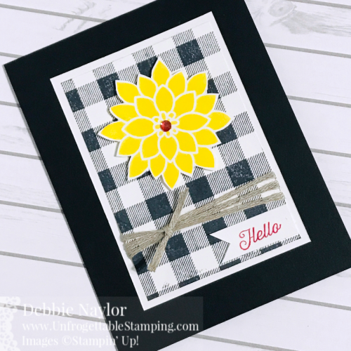 Unfrogettable Stamping | Fabulous Friday Color Challenge card featuring the Flourishing Phrases and Buffalo Check stamp sets by Stampin' Up!