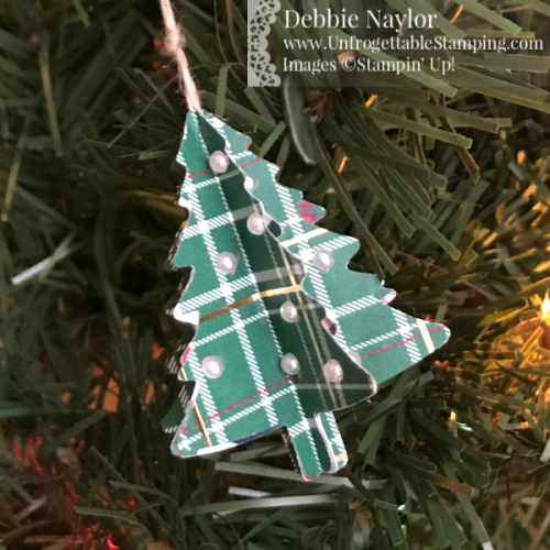 Unfrogettable Stamping | Fabulous Friday Tiny Tree Christmas Ornament featuring the Pine Tree punch and Wrapped in Plaid DSP by Stampin' Up!