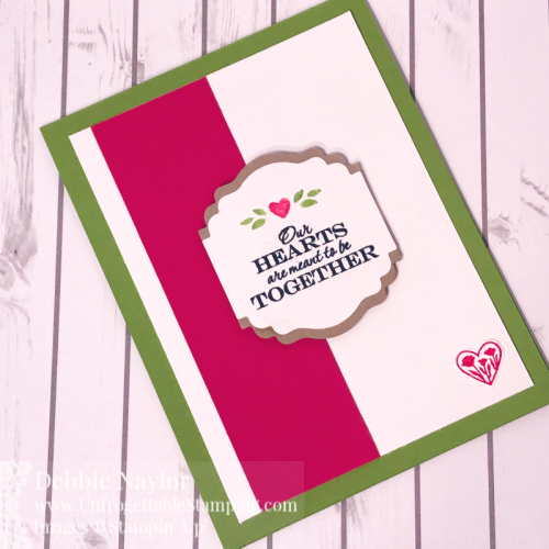 Unfrogettable Stamping | February 2020 Stampers Dozen Blog Hop Valentine's Day card featuring the Heart to Heart stamp set and Label Me Lovely punch from Stampin' Up!