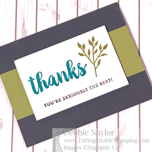 Unfrogettable Stamping | Fabulous Friday March 2020 Color Challenge thank you card featuring the Seriously the Best stamp set from Stampin' Up!
