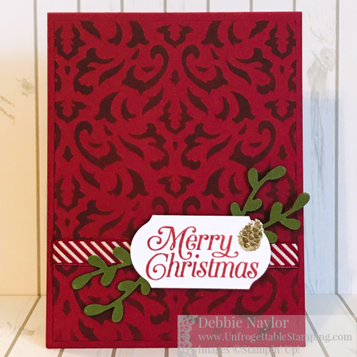 Unfrogettable Stamping | Fabulous Friday Quick and Easy Christmas card featuring the Perfectly Plaid stamp set, Basic Pattern Decorative Masks and the Sprig punch from Stampin' Up!