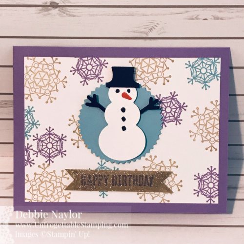 Unfrogettable Stamping | Fabulous Friday Snowman Winter Birthday card featuring the Colorful Seasons and Itty Bitty Birthdays stamp set along with the Snowman Builder Punch from Stampin' Up!