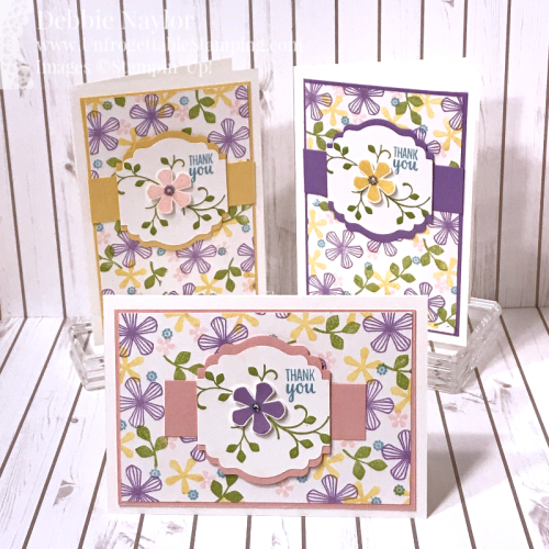 Unfrogettable Stamping | Jan 2020 Stampers Dozen Blog Hop SAB thank you card set featuring the Thoughtful Blooms stamp set and Label Me Lovely punch by Stampin' Up!