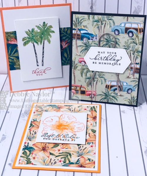 Unfrogettable Stamping | Fabulous Friday card set featuring the Tropical Oasis DSP and Timeless Tropical stamp set from Stampin' Up!