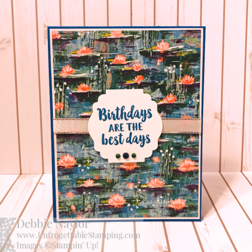 Unfrogettable Stamping | Fabulous Friday bejeweled birthday card featuring the Lily Impressions DSP from Stampin' Up! and matching earring set