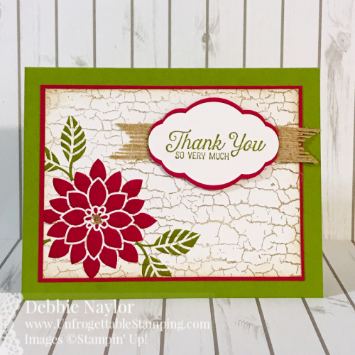 "Unfrogettable Stamping | Fabulous Friday Retiring Product thank you card featuring the Crackle and Flourishing Phrases stamp sets, Pretty Label Punch, 5/8"" Burlap Ribbon and Lovely Lipstick ink pad and card stock from Stampin' Up!"