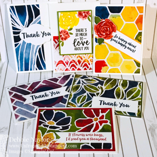 Unfrogettable Stamping | May 2020 Stampers Dozen Blog Hop Last Chance note card set featuring the Abstract Impressions stamp set and See A Silhouette DSP by Stampin' Up!