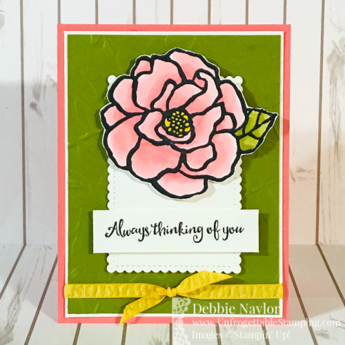 Unfrogettable Stamping | Fabulous Friday May Flowers birthday card featuring the retiring Beautiful Day stamp set and Lovely Leaves 3D embossing folder from Stampin' Up!