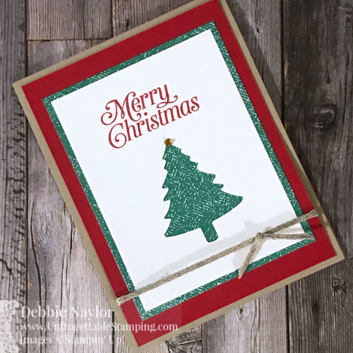 Unfrogettable Stamping | Fabulous Friday Christmas in July card featuring the Perfectly Plaid stamp set, 2020-2022 In Color DSP stack and Pine Tree punch from Stampin' Up!