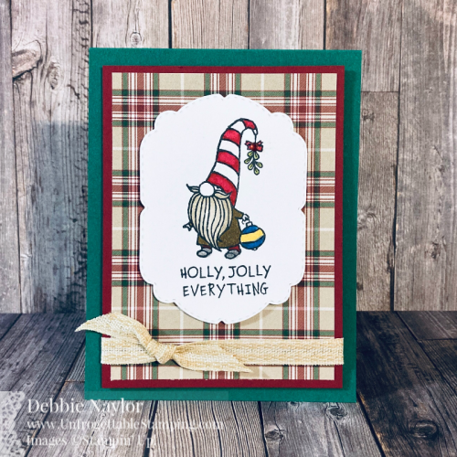 Unfrogettable Stamping | Fabulous Friday Christmas card featuring the Gnome for the Holidays stamp set, Plaid Tidings DSP, Celebration Labels dies, Embroidered Ribbon and Stampin' Blends from Stampin' Up!