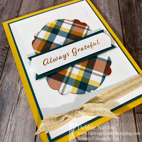 "Unfrogettable Stamping | Fabulous Friday fall thank you card featuring the Celebration Tidings bundle, Plaid Tidings DSP, 3/8"" Embroidered Ribbon and Banners Pick a Punch from Stampin' Up!"