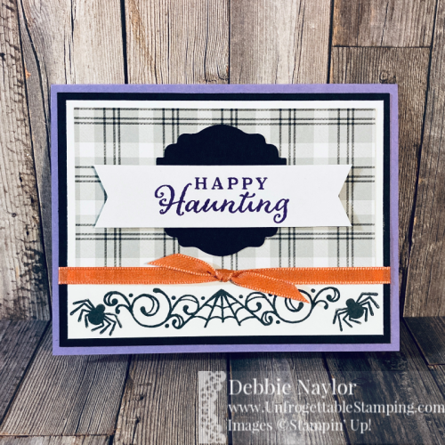 Unfrogettable Stamping | August 2020 Stampers Dozen Blog Hop Halloween card featuring the Celebration Tidings stamp set, Plaid Tidings DSP, Label Me Lovely punch, Banners Pick a punch and Ornate Garden ribbon from Stampin' Up!