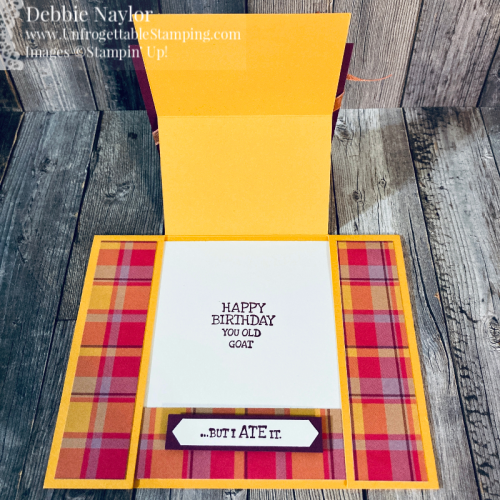 Unfrogettable Stamping | Fabulous Friday easel birthday card featuring the Way to Goat stamp set, Plaid Tidings DSP, Classic Label punch and Ornate Garden ribbon from Stampin' Up!