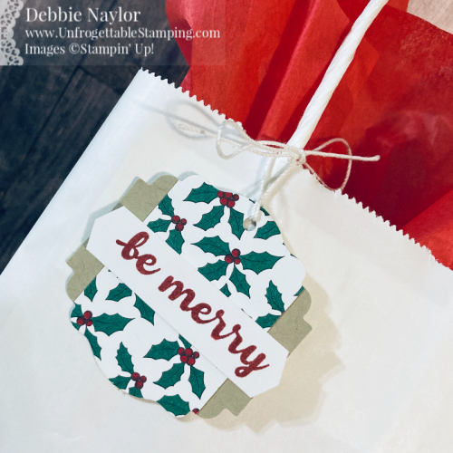 Unfrogettable Stamping | Countdown to Christmas 2020 Day 3 Gift Tags featuring the Banner Year bundle, 'Tis the Season DSP and various punches from Stampin' Up!