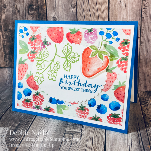 Unfrogettable Stamping | Sunday Fun Day birthday card feturing the Sweet Strawberry stamp set and coordinating Strawberry Builder punch available from Stampin' Up! in the 2021 January-June catalog