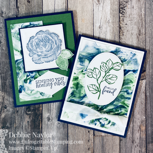 Unfrogettable Stamping | Sunday Fun Day Shaving Cream technique card set featuring the Healing Hugs and A Touch of Ink (SAB) stamp sets from Stampin' Up!