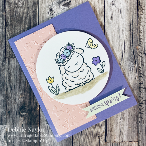 Unfrogettable Stamping | Sunday Fun Day card featuring the Springtime Joy stamp set, Meadow Moments embossing folder and colored with  Stampin' Blends markers from Stampin' Up!