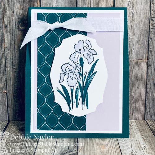 Unfrogettable Stamping | Sunday Fun Day spring flowers easel cards featuring the retiring Inspiring Iris stamp set along with the Pretty Peacock and Purple Posy 2019-2021 retiring In Colors from Stampin' Up!